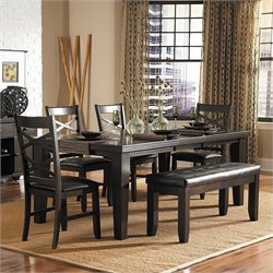 Homelegance Hawn 6 Piece Dining Table Set in Espresso