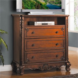 Trent Home Madaleine TV Chest in Warm Cherry