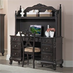 Trent Home Cinderella Writing Desk and Hutch in Dark Cherry