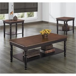 Trent Home Ohana 3 Piece Occasional Table Set in Black and Cherry
