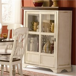 Trent Home Ohana Curio Cabinet in Antique White and Warm Cherry