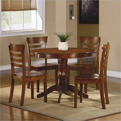 Homelegance Wayland 5 Piece Dinning Table Set in Antique Oak