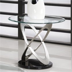 Trent Home Firth Glass Top End Table in Chrome