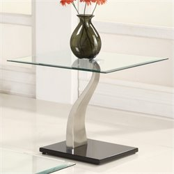 Trent Home Atkins Glass Top End Table in Chrome