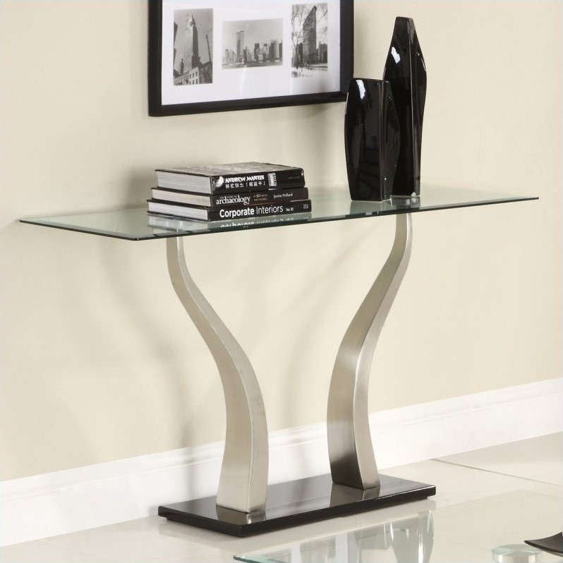 Trent Home Atkins Sofa Table in Chrome and Espresso