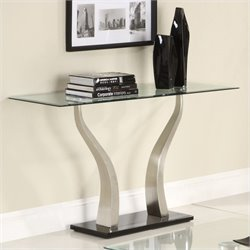 Homelegance Atkins Sofa Table in Chrome and Espresso