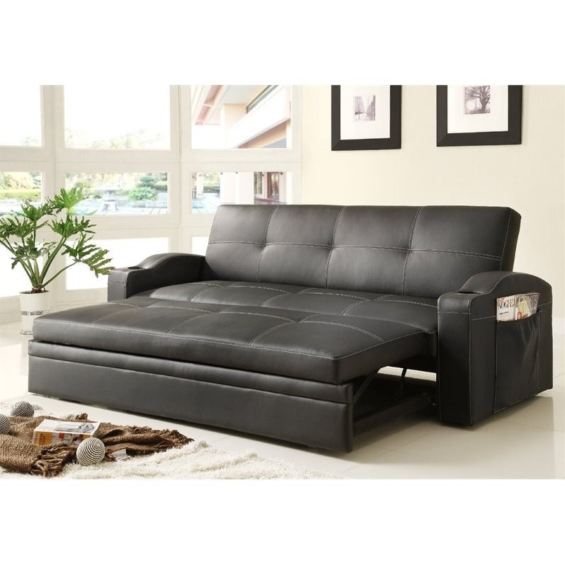 Trent Home Novak Elegant Lounger with Pull Out Trundle in Black