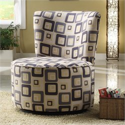 Trent Home Easton Fabric Swivel Lounge Chair in Blue Geometric Pattern