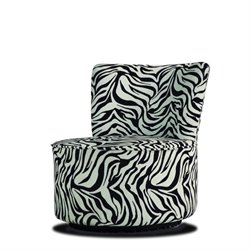 Trent Home Easton Fabric Swivel Lounge Chair in Black and White Animal Print
