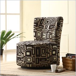 Trent Home Easton Fabric Swivel Lounge Chair in Brown Geometric Pattern