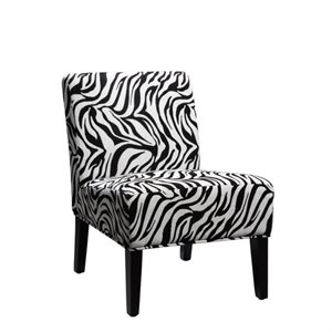 Trent Home Lifestyle Upholstered Accent Slipper Chair in Zebra Animal Print