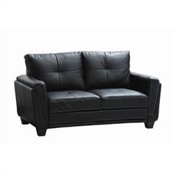 Homelegance Dwyer Loveseat in  Black Vinyl