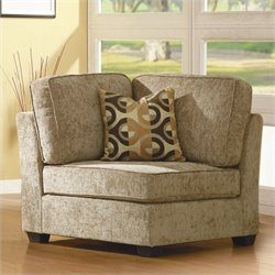 Homelegance Burke Modular Corner with 1 Pillow in Brown Beige Chenille