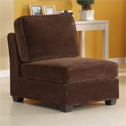 Homelegance Burke Modular Armless Single Chair in Dark Brown