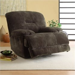 Trent Home Geoffrey Power Recliner Chair in Chocolate Textured Plush