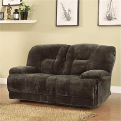 Trent Home Geoffrey Loveseat Power Recliner in Chocolate Plush