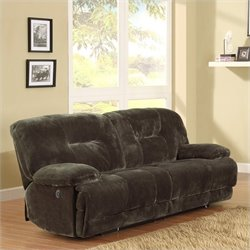 Trent Home Geoffrey Sofa Power Recliner in Chocolate Textured Plush