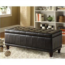 Trent Home Afton Faux Leather Storage Bench in Dark Brown Vinyl