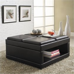 Trent Home Fleming Faux Leather Ottoman Cocktail Table in Dark Vinyl