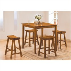 Trent Home Saddleback 5 Piece Counter Height Table Set in Oak