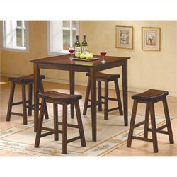 Homelegance Saddleback 5 Piece Counter Height Table Set in Cherry