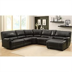 Trent Home Cale 6 Piece Sectional in Black Leather