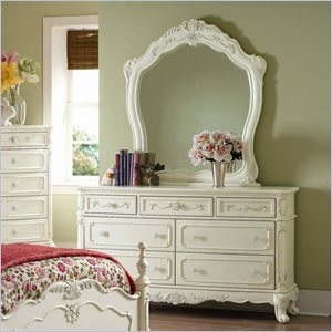 Trent Home Cinderella Double Dresser and Mirror Set in Ecru Finish