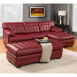Homelegance Brooks Oversized Tufted 3 Piece Sectional in Red