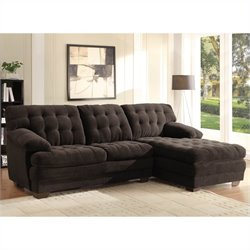 Homelegance Brooks Oversized Tufted 2 Piece Sectional in Chocolate