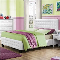 Trent Home Sparkle Tufted Upholstered Bed in White - Twin