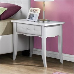 Homelegance Sparkle Tufted 1 Drawer Nightstand in White
