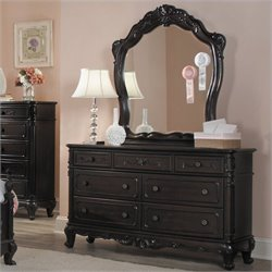 Trent Home Cinderella Dresser and Mirror Set in Dark Cherry Finish