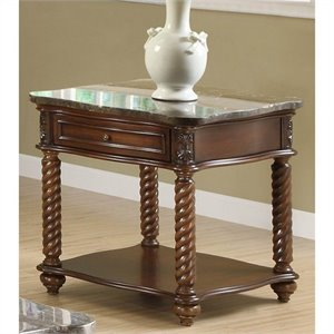 Trent Home Lockwood End Table with Marble Top