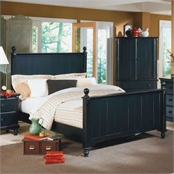 Homelegance Pottery Panel Bed in Black Finish - California King