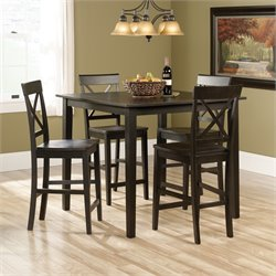 Sauder Edge Water 5 Piece Counter Height Set in Brown