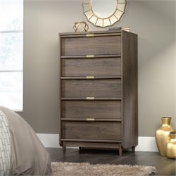 Sauder International Lux 5 Drawer Chest in Fossil Oak