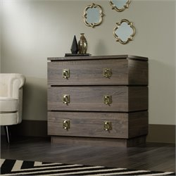 Sauder International Lux 3 Drawer Chest in Fossil Oak