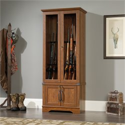 Sauder Carson Forge Gun Display Cabinet in Washington Cherry