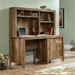 Sauder Dakota Pass Computer Desk with Hutch in Craftsman Oak
