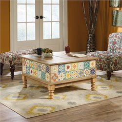 Sauder Viabella Square Lift Top Coffee Table in Antigua Chestnut