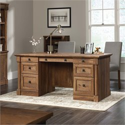 Sauder Palladia Executive Desk in Vintage Oak