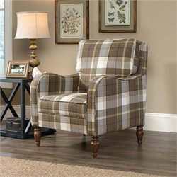 Sauder New Grange Accent Chair in Plaid Fabric