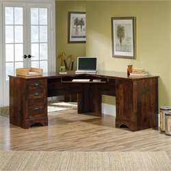 Harbor View Corner Computer Desk in Curado Cherry