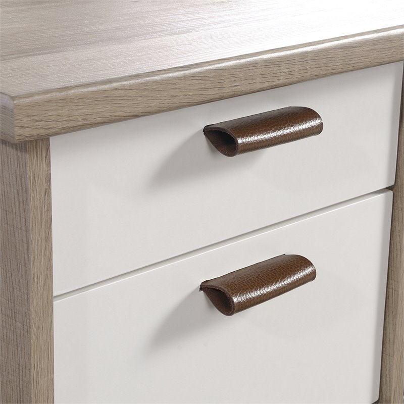 Sauder Anda Norr Executive Desk in Sky Oak and White