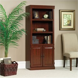 Sauder Heritage Hill 3 Shelves Wood Bookcase With Cabinet in Classic Cherry