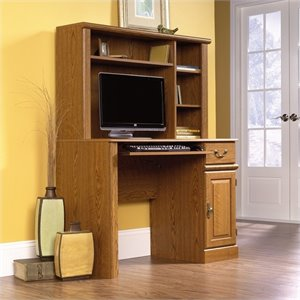 Small Wood Computer Desk with Hutch in Carolina Oak
