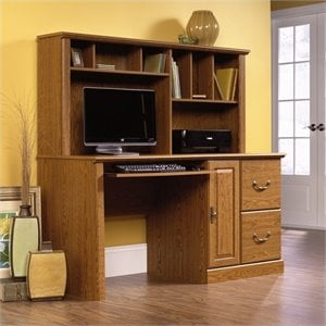 Wood Computer Desk with Hutch in Carolina Oak