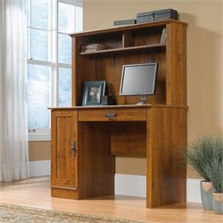 Wood Computer Desk with Hutch in Abbey Oak