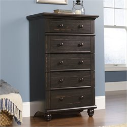 Sauder Harbor View 5-Drawer Chest in Antiqued Paint