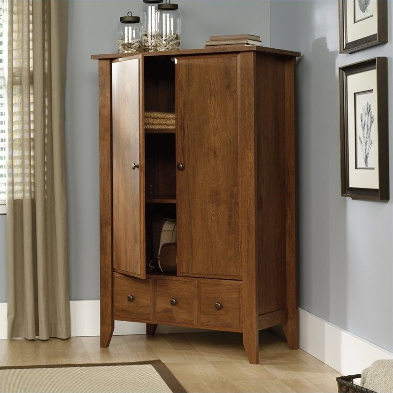 Sauder Shoal Creek Armoire In Oiled Oak 410420